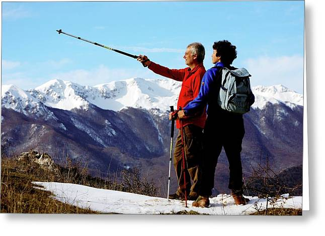 Hikers Greeting Card by Mauro Fermariello/science Photo Library
