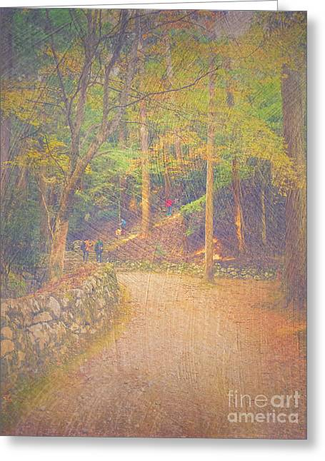 Hikers Walking Along Tranquil Kozan-ji Forest Kyoto Japan Greeting Card by Beverly Claire Kaiya
