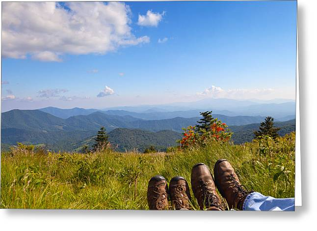 Hikers With A View On Round Bald Near Roan Mountain Greeting Card