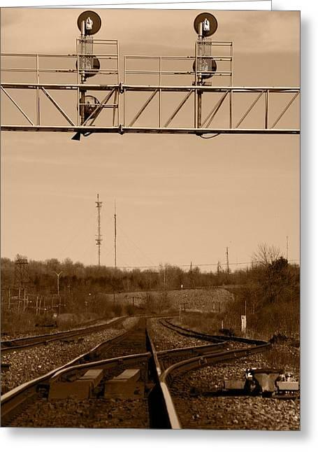Hikin' The Tracks Greeting Card by Paul Wash