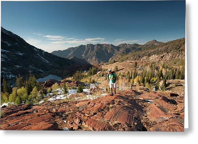 Hiking Above Lake Lillian And Florence Greeting Card by Howie Garber