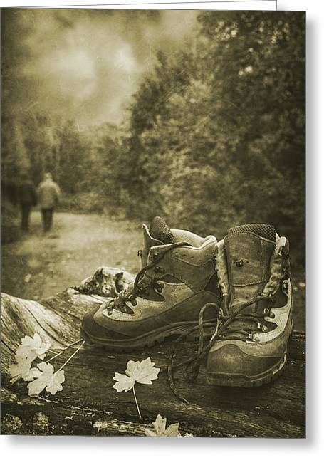 Hiking Boots Greeting Card by Amanda Elwell