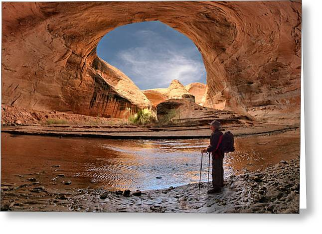 Hiking Coyote Gulch Greeting Card by Leland D Howard