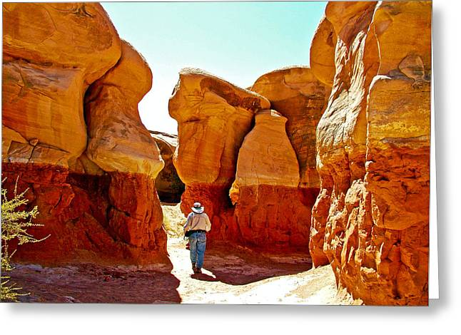Hiking In A Huddle Of Hoodoos In Devil's Garden Off Hole-in-the-rock Road-grand Staircase Escalante  Greeting Card