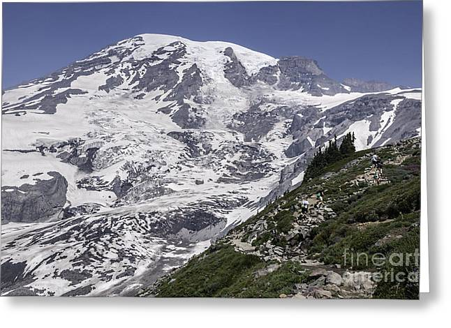 Hiking Mt Rainier Greeting Card