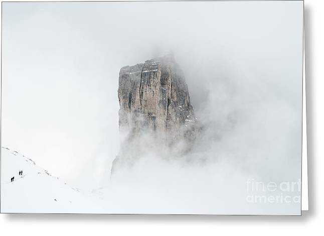 Hiking The Tre Cime In Winter Greeting Card by IPics Photography