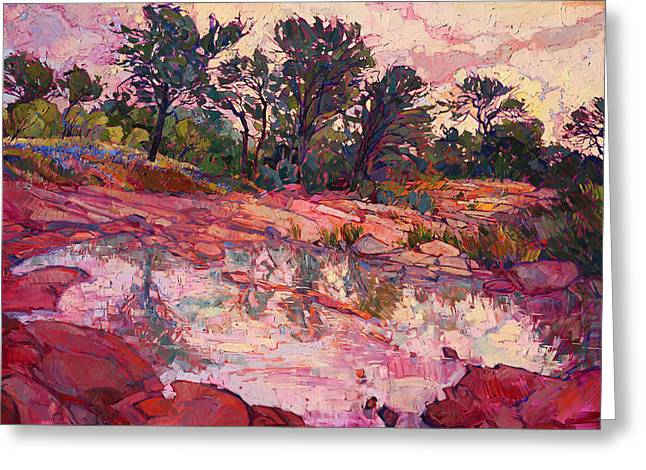 Greeting Card featuring the painting Hill Country Dawn by Erin Hanson