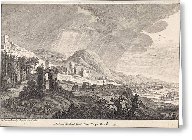Hill Landscape With Ruins, Pieter Nolpe, Gerard Van Keulen Greeting Card