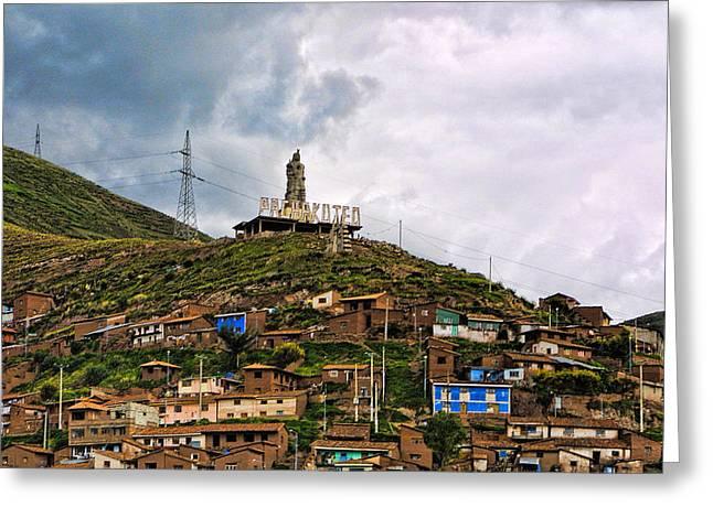 Hill Side Dwellings Peru Greeting Card by Linda Phelps