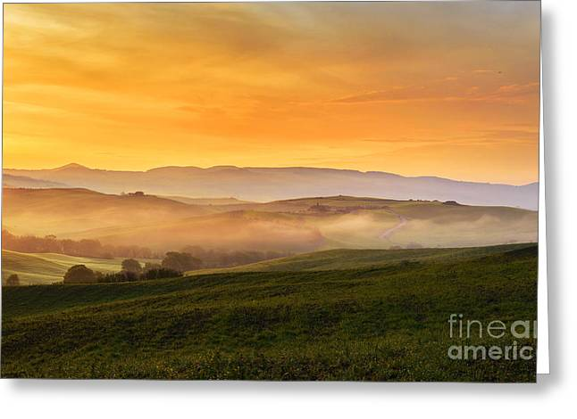 Hills And Fog Greeting Card
