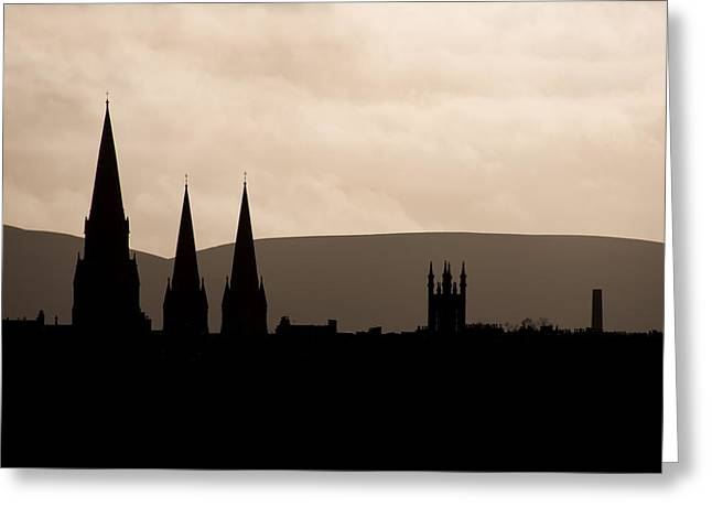 Hills And Spires Greeting Card