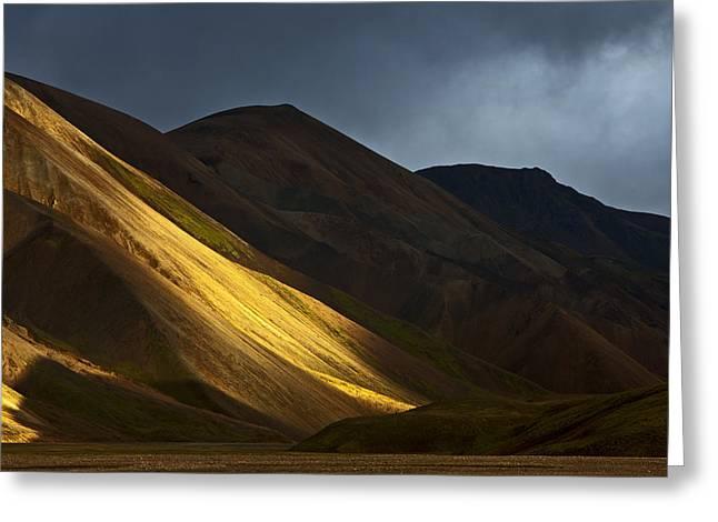 Hills At Sunset Landmannalaugar Greeting Card by Heike Odermatt