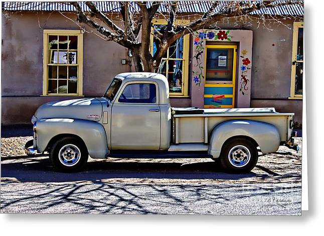 Greeting Card featuring the painting Hillsboro New Mexico 1949 Gmc 100 by Barbara Chichester