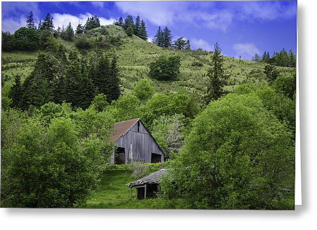 Hillside Barn Greeting Card by Chris Malone