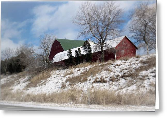 Hillside Farm In Winter Greeting Card by Kay Novy
