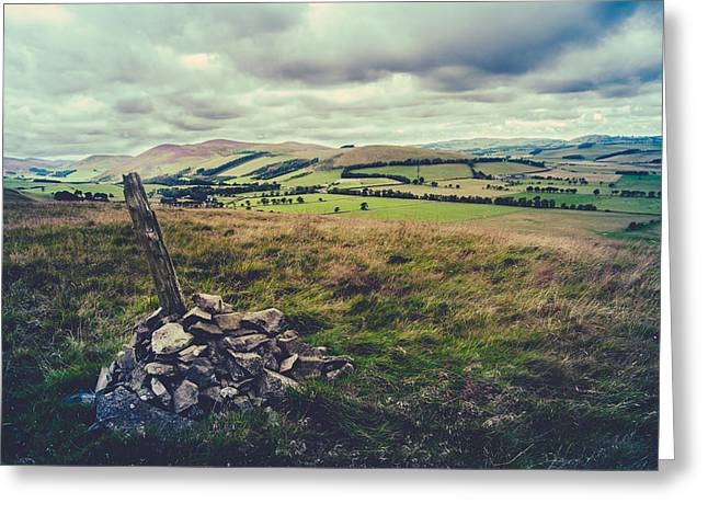 Hilltop Cairn Scotland Landscape Greeting Card