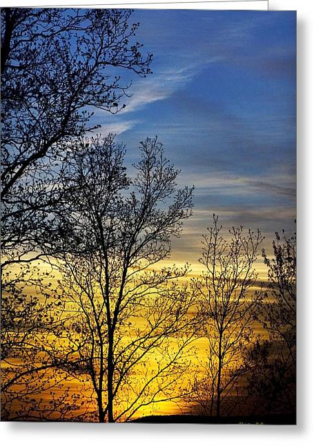 Hilltop Sunset Greeting Card by Christina Rollo