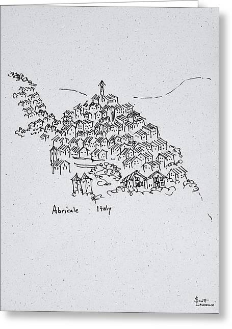 Hilltop Town Of Abricale, Italy Greeting Card