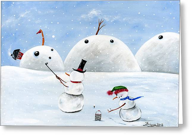 Hilly Hole In One Greeting Card by Brianna Mulvale