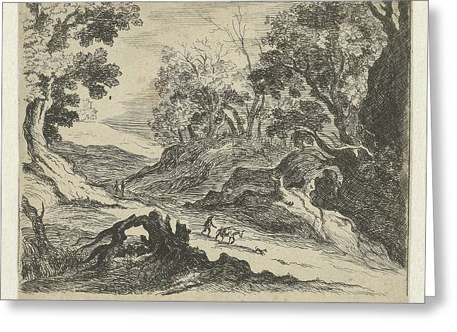 Hilly Landscape With A Donkey Herder, Anna Maria De Koker Greeting Card