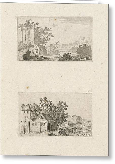 Hilly Landscape With Ruins And A Farm In The Hills Greeting Card