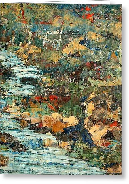Hilly Stream - Sold Greeting Card by Judith Espinoza