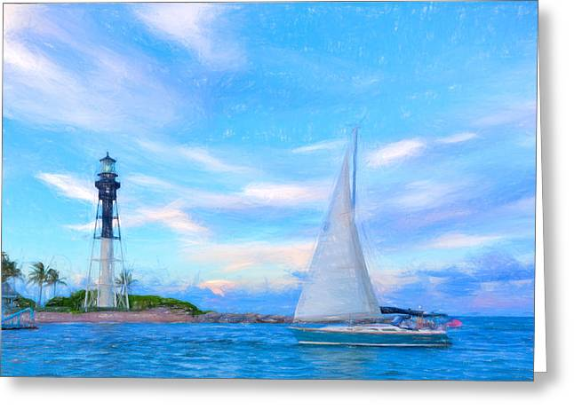 Hilsboro Lighthouse Colored Pencil Greeting Card by Michael  Wolf