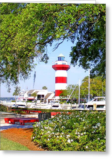 Hilton Head Lighthouse And Marina Greeting Card