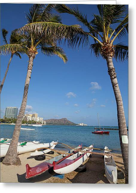 Hilton Lagoon, Waikiki, Honolulu, Oahu Greeting Card by Douglas Peebles