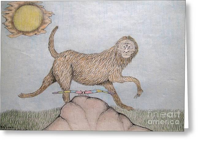 Himalaya Monkey Dragonfly Encounter Greeting Card by Elizabeth Stedman
