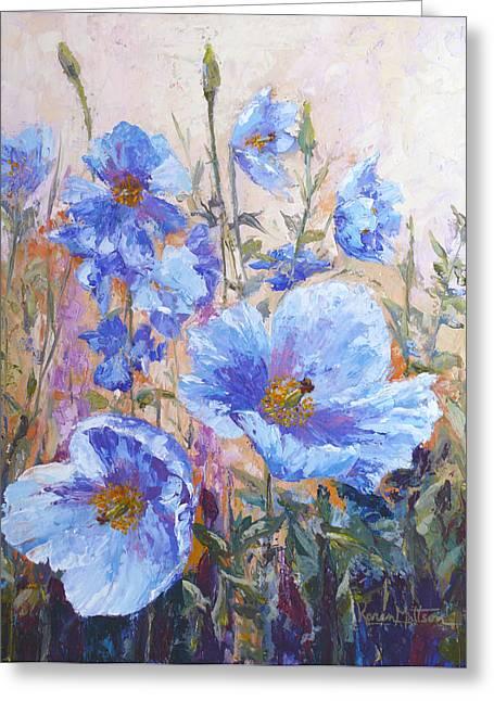 Himalayan Blue Poppies Greeting Card by Karen Mattson