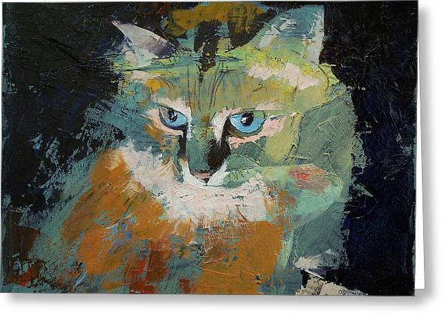 Himalayan Cat Greeting Card by Michael Creese