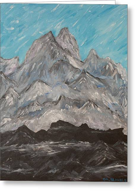 Greeting Card featuring the painting Himalayas by Martin Blakeley