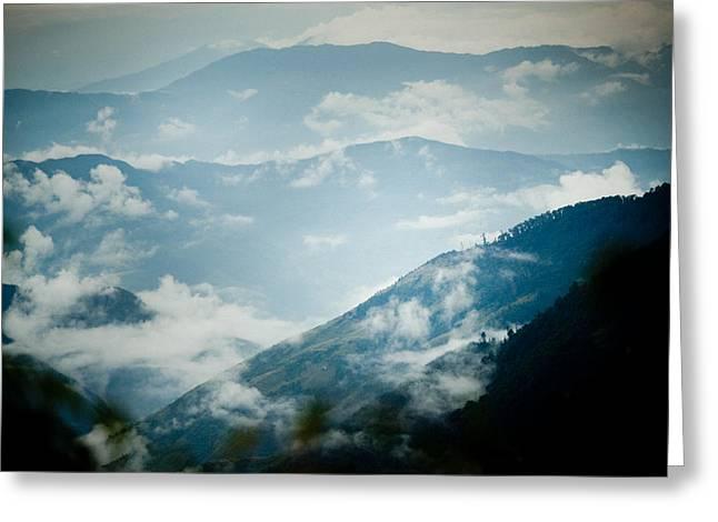 Himalayas Mountain With Clouds  Panaramic Greeting Card