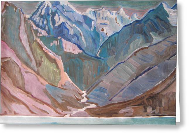 Greeting Card featuring the painting Himalayas by Vikram Singh