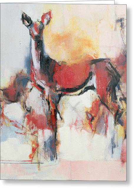 Hinds In Winter, 1995 Oil On Canvas Greeting Card