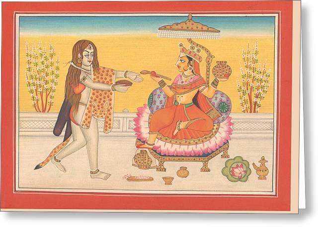 Hindu Goddess Annapurna God Shiva Yoga Yogi Hindu Art Gallery India Greeting Card by A K Mundhra