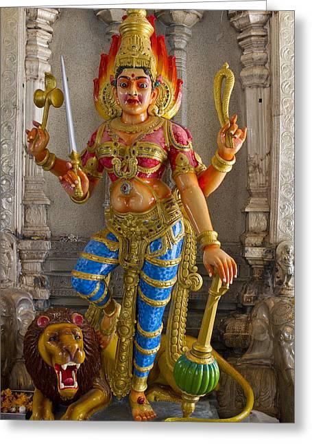 Hindu Goddess Durga On Lion Greeting Card by David Gn