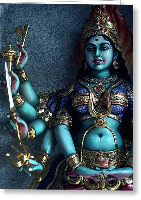 Hindu Goddess Kali On Hindu Temple Greeting Card by Carl Purcell