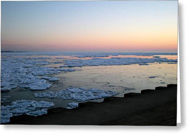 Greeting Card featuring the photograph Hints Of Spring South Haven Pier by Penny Hunt