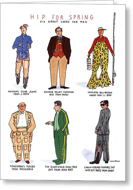 Hip For Spring Six Great Looks For Men Greeting Card by Michael Crawford