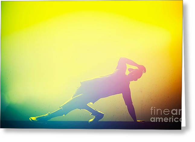Hip Hop Break Dance Performed By Young Man In Colorful Club Lights Greeting Card by Michal Bednarek
