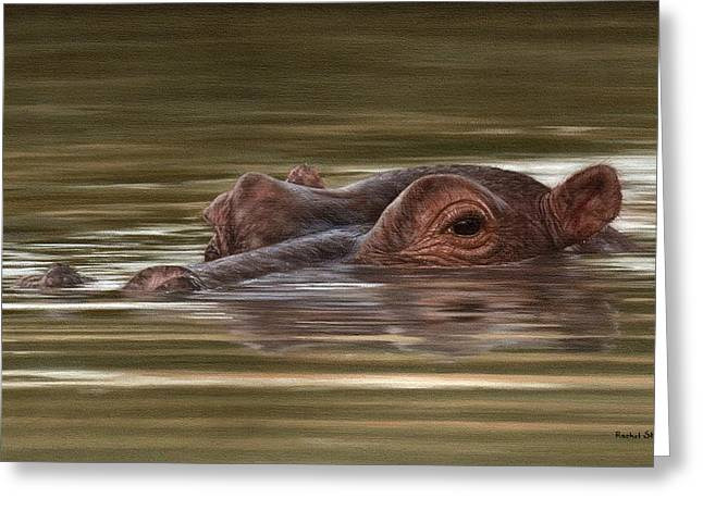 Hippo Painting Greeting Card