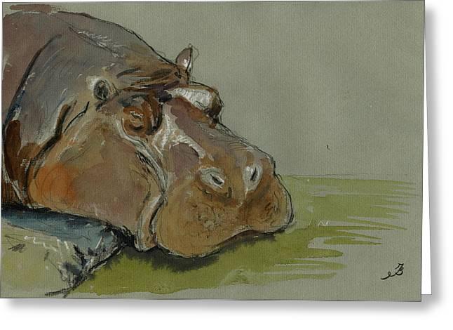 Hippo Sleeping Greeting Card