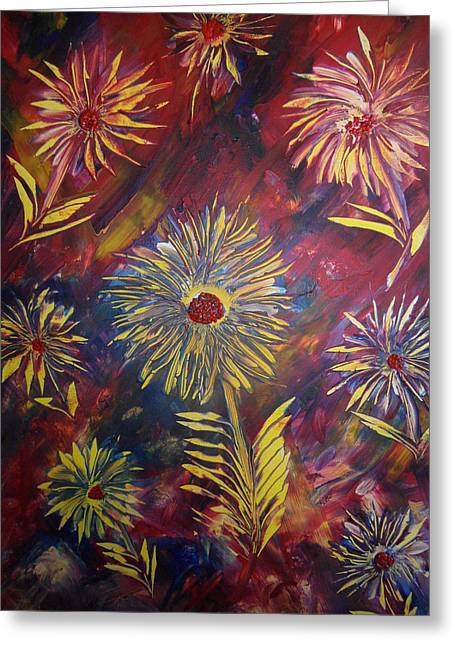 Greeting Card featuring the painting Hippy Flowers by Nico Bielow