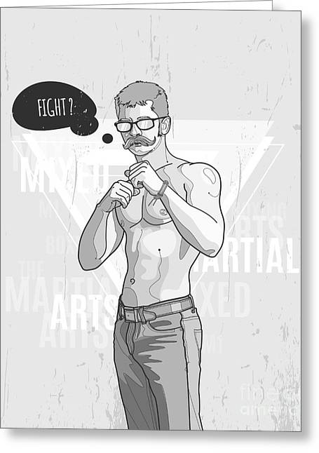 Hipster Graffiti Character On Abstract Greeting Card by Fet