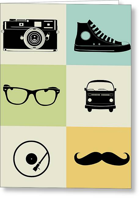 Hipster Mix Poster Greeting Card by Naxart Studio