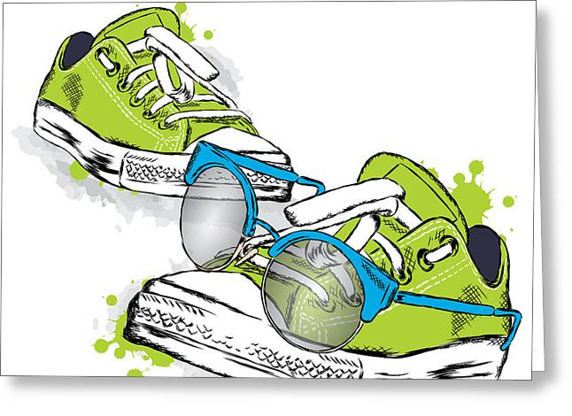 Hipster Sneakers With Glasses Vector Greeting Card by Vitaly Grin