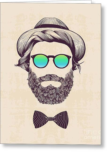 Hipster With Hat And Jazz-bow Greeting Card