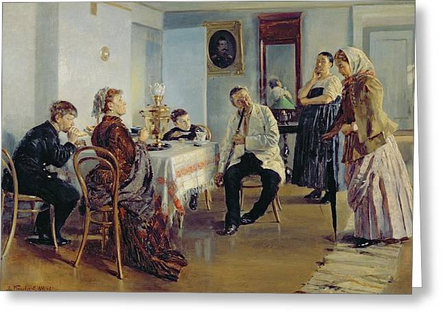 Hiring Of A Maid, 1891-92 Oil On Canvas Greeting Card by Vladimir Egorovic Makovsky